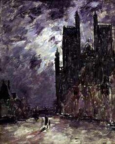 OTH 855 - Eugène Boudin, la cathédrale d'Abbeville la nuit.