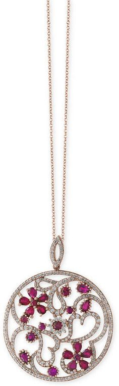 Amore by EffyCertified Ruby (4-1/3 ct. t.w.) and Diamond (1-1/2 ct. t.w.) Floral Disc Pendant Necklace in 14k Rose Gold