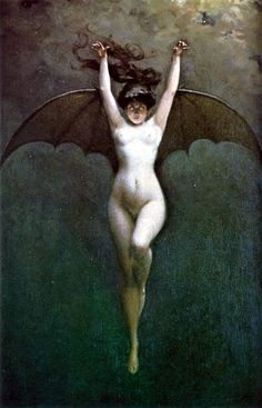 The iconic, Symbolist image of feminine evil, 'Bat-Woman' (1890) by the French Romantic painter Albert-Joseph Pénot (1862-1930)