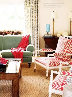 {A Lovely Living Room Featuring Graphic Fabrics from Quadrille via House Beautiful}
