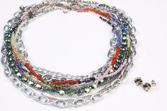 Vision London Choker paired with Closing Night 8-Row Choker, Bold Colors Long Necklace and Urban Classic Sabika Manhattan Studs