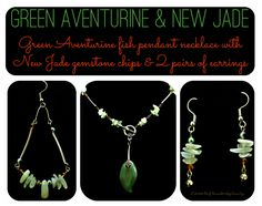 Green aventurine fish pendant necklace with new jade gemstone chips and earring set.