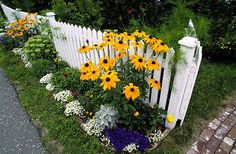 White Picket Fence with Flowers.Best garden tools and ideas !