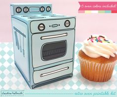 retro oven   cupcake box cookie candy treat by claudinehellmuth, $5.99 From my kitchen to yours!