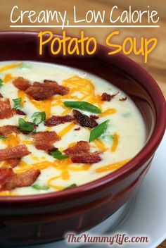 Baked (or Mashed) Potato Soup. It tastes too rich and creamy to be low in calories and fat!  from The Yummy Life
