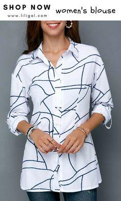 1505148fbf1 USD32.06 Long Sleeve Turndown Collar Printed Shirt  liligal  blouse  tshirt  Womens