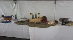 Oktoberfest corporate event from September 2014 Rosemary Crusted Roast Turkey Breast Platter Grainy Mustard Chicken Apple Sausage & Bratwurst Braised Red Cabbage, with Caraway Seed Classic Georgian salad- Tomato, Cucumber and Onions, Red Wine Vinegar German Potato Salad