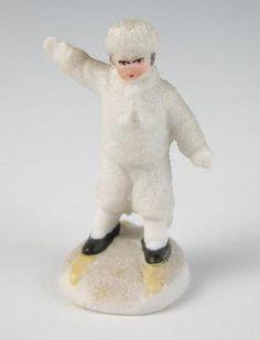 Antique German Child Skiing Shoeing Bisque Snow Baby Christmas Snowbaby Figurine | eBay