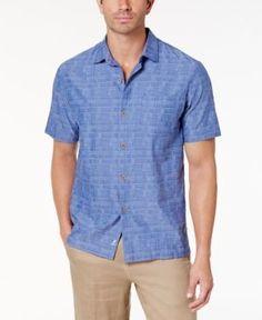 Tommy Bahama Men's Getaway Grid Shirt - Blue XL