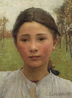 Artist - Sir G. Clausen 1852-1944, born on this day - The head of a young girl.