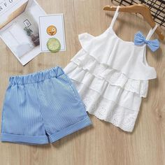 Plaid Lace + White Bow Shorts Baby Girls Clothing Sets — GoLive Shopping N… – Outfit Ideas for Girls Baby Girl Dress Patterns, Baby Dress Design, Dresses Kids Girl, Kids Outfits Girls, Shorts For Girls, Baby Outfits, Toddler Outfits, Emo Outfits, Baby Girl Fashion