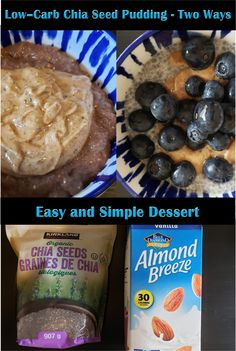 Delicious Chia Seed Pudding - Two Ways! The ultimate low-carb dessert option!  #chiaseeds #chiapudding #lowcarb #lowcarbrecipes #keto #ketorecipes #ketodiet #healthyfats #almondmilk #nutbutter #blueberries #foodhealthnutritionwealth #healthiswealth #foodie #delicious #nutritious #highfiber #yum #healthyfoodporn #healthydessert #foodporn #westelm #fabfitfun #almondbreeze #nutsfornature #driscolls Low Carb Desserts, Easy Desserts, Low Carb Recipes, Healthy Breakfast Recipes, Chia Seeds, Health And Nutrition, Food Porn, Snacks, Low Carb
