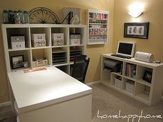 Love this craft space/office setup done with IKEA Expedit.