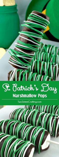 St. Patrick's Day Marshmallow Pops - 15 Shamrocking St. Patrick's Day Desserts to Inspire True Irish Smiles #stpatricksday #marshmallow #dessert #recipes #holidayrecipes