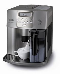 """DeLonghi ESAM3500.N  Magnifica Digital Super-Automatic Espresso/Coffee Machine by Delonghi. $1425.00. Easy-to-use rotary and push button control panel with programmable menu settings. Patented """"Cappuccino System"""" frother; mixes steam and milk to create a rich, creamy froth for perfect drinks every time. No waiting between preparing espresso and cappuccino with the double boiler system. Grinds beans instantly with the patented """"Direct-to-Brew"""" system.  Brewing system i..."""