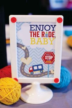 """Printable """"Enjoy the Ride"""" Baby Party Sign."""