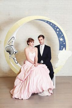 Art Deco Paper Moon Backdrop with Bench (Foreground Clouds NOT included) Featured on Bridal Guide Magazine