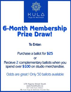 Get a sneak preview and an early opportunity to win! Kula will be offering this out to the general public starting November 28th - ONLY 50 BALLOTS AVAILABLE!' November Month, November 2015, Prize Draw, Opportunity, Public, Coin Toss