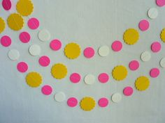 Paper Garland Yellow Pink White Circles and by FabulouslyHomemade