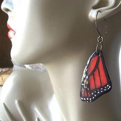 #butterfly #earrings #monarch butterfly wings by LonesomeRoadStudio, $36.00