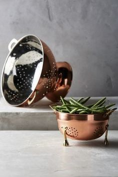 Anthropologie Copper-Plated Colander #anthrofave #anthropologie