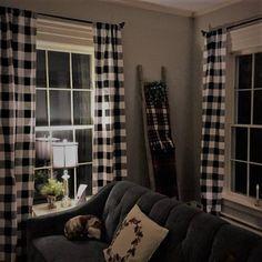 Black And White Buffalo Check Curtains Rod Pocket Optional Plaid Living Room New