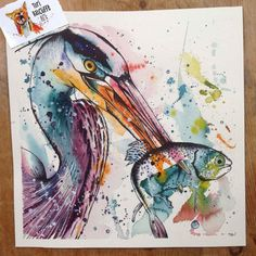 Expressive watercolour painting with fineliner of a Grey Heron with a fish in it's beak. Prints of this are available on my etsy shop!