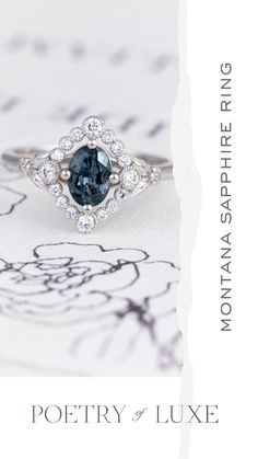 Montana Sapphire Ring - White Gold Oval Sapphire Engagement Ring - Poetry of Luxe Jewlery Boho Engagement Ring, Vintage Inspired Engagement Rings, Sapphire Diamond, Halo Diamond, Wedding Proposals, Paris Wedding, Dream Ring, White Gold Rings, Fashion Rings