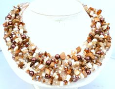 Statement necklace, gemstone necklace, pearl necklace, Cream, Tan, Brown, boho, Multistrand necklace, handmade jewelry, beaded necklace by CasualBlingandPPC on Etsy https://www.etsy.com/listing/213486713/statement-necklace-gemstone-necklace
