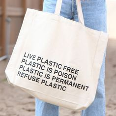 Make a powerful statement with the Live Plastic Free reusable tote. Klean Kanteen Insulated, Safest Cookware, Go Bags, Plastic Pollution, Reusable Bags, Unique Necklaces, Zero Waste, Free, Eco Products