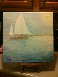 My second sailboat painting :-) I made the set for a friend at work who's decorating her nursery with a nautical theme.  I'm very happy with how they turned out!