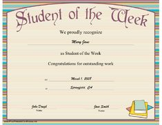 A Student Of The Week Certificate With A Striped Design throughout Student Council Certificate Template Free Graduation Certificate Template, Certificate Of Achievement Template, Free Gift Certificate Template, Printable Certificates, Award Certificates, School Certificate, Student Awards, Student Council, Best Templates