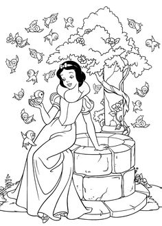 Princess Snow White coloring pages for kids, printable free