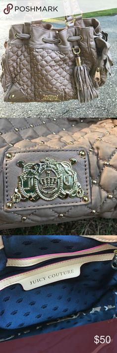 Juicy Couture purse Juicy Couture Purse. Beige with gold studs and blue interior Juicy Couture Bags Totes