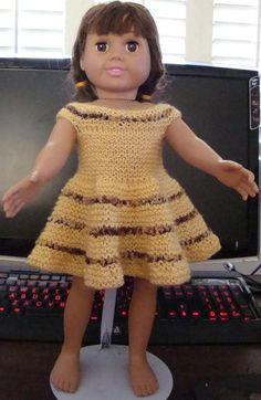 knitted dolls Ladyfingers - AG doll - Very Easy Dress - All Garter Stitch free pattern Knitting Dolls Clothes, Ag Doll Clothes, Crochet Doll Clothes, Knitted Dolls, Doll Clothes Patterns, Doll Patterns, American Girl Crochet, American Doll Clothes, American Dolls