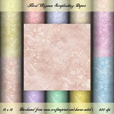 Floral Elegance Scrapbook Paper Pack on Craftsuprint designed by Karen Adair - This paper pack contains 10 sheets, all 12 x 12, in jpeg format at 300 dpi. You can use my scrapbooking papers as a designer resource to create card making designs for sale, but they cannot be used in scrapbooking designs on Craftsuprint, as credit is required. You cannot use these to create new designer resources. You can use these for your card-making. Please observe my TOU, a copy of which is included in the…