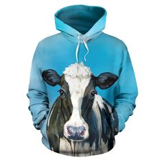 All over print hoodie for men & women - Cow