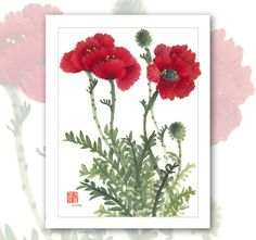 Watercolor Chinese Brush Painting Cards Poppies por Vartus en Etsy