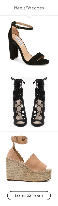 """Heels/Wedges"" by addiblake ❤ liked on Polyvore featuring shoes, sandals, heels, sapatos, black, black suede, chunky-heel sandals, black chunky heel sandals, ankle wrap sandals and black shoes"
