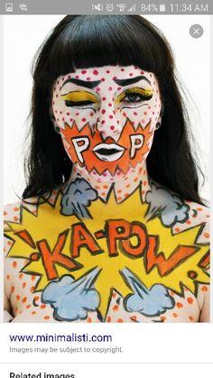 Pop art comic book halloween makeup