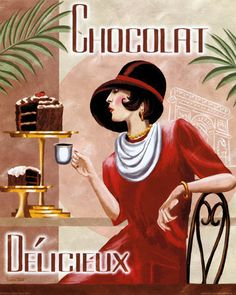 1930s French Art Deco 8 x 10 Sophisticated Woman in Delicious Chocolate Shop Cafe via Etsy