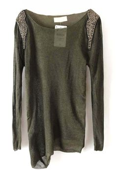 b2e6b10e0 To find out about the Green Long Sleeve Sheer Shoulder Beading T-Shirt at  SHEIN, part of our latest T-Shirts ready to shop online today!