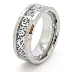 Blue Chip Unlimited - Unisex 8mm Satin Finished Tungsten Carbide with Silver Celtic Dragon Inlay Wedding Band Engagement Ring Fashion Jewelry Gift (Available in Sizes 5-16): Jewelry: Amazon.com