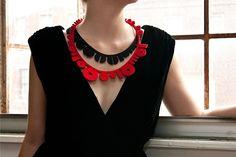 Binary I & II Necklaces by Maria Eife  LASER CUT FELT