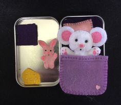Lil' Maties- felt mouse in a tin play set with purple bed set by MatiesMeadow on Etsy https://www.etsy.com/listing/227354053/lil-maties-felt-mouse-in-a-tin-play-set