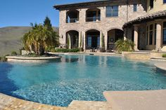 One of the local pools we've worked on here in Northern California's Bay Area Swimming Pool Repair, Swimming Pools, Aqua Pools, Northern California, Bay Area, The Locals, Mansions, House Styles, Outdoor Decor