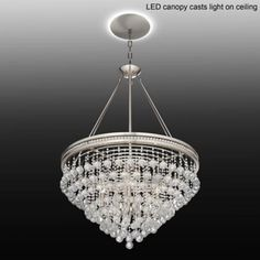 "Regina 28""W Crystal Chandelier with LED Canopy"