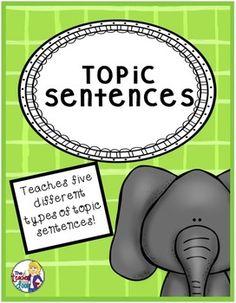 Topic Sentences in Paragraph Writing: Print and Digital Teaching Writing, Writing Activities, Classroom Activities, Empowering Writers, Sentence Types, 6 Class, Topic Sentences, 2nd Grade Writing, Common Core Ela