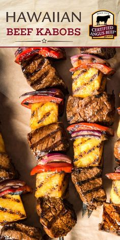 guests will rave over Grilled Hawaiian Beef Kabobs! This easy recipe with a tropical marinade gives a burst of flavor to Certified Angus Beef ® brand sirloin steak that's grilled with pineapple and vegetables. Best Beef Recipes, Healthy Grilling Recipes, Kabob Recipes, Barbecue Recipes, Appetizer Recipes, Grilling Ideas, Sirloin Steak Recipes, Sirloin Steaks, How To Cook Beef