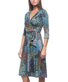 Look at this #zulilyfind! Blue & Brown Wrap Dress by BOLD & BEAUTIFUL #zulilyfinds